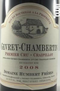 Gevrey-Chambertin Premier Cru Craipillot - Domaine Humbert Frères - 2016 - Rouge