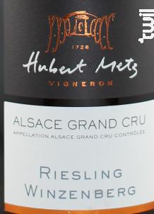 Riesling Grand Cru Winzenbeg - Domaine Hubert Metz - 2015 - Blanc