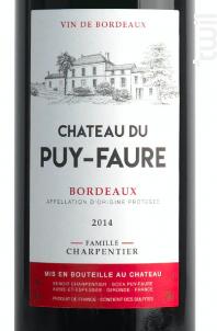 Bordeaux - Château du Puy-Faure - 2014 - Rouge