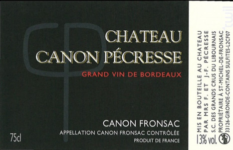 Château Canon Pécresse - Château Canon Pécresse - 2014 - Rouge