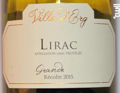 Lirac - Grande Récolte - Villa d'Erg - 2015 - Blanc