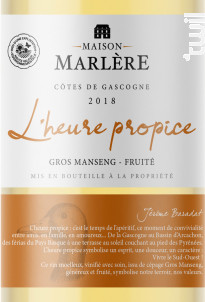 L'heure propice - Maison Marlère - 2018 - Blanc