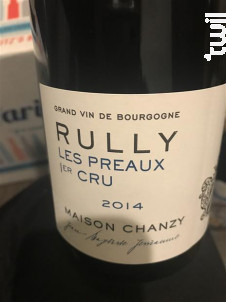 RULLY 1 er Cru Les Preaux - Maison Chanzy - 2014 - Rouge