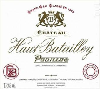Château Haut Batailley bordeaux - Château Haut Batailley - 2011 - Rouge
