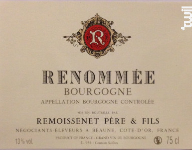 Bourgogne Renommée - Remoissenet - 2014 - Rouge