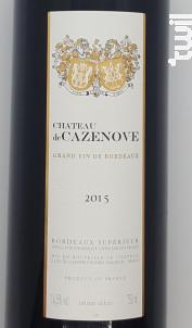 Chateau de Cazenove - Château de Cazenove - 2015 - Rouge