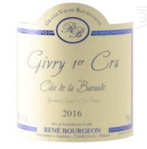 Givry Clos De La Baraude 1er Cru - Domaine Bourgeon René - 2016 - Rouge