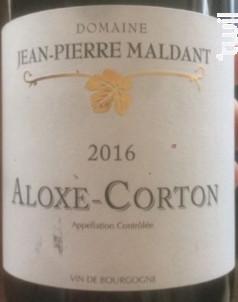 Aloxe-Corton village Crapousuets vieilles vignes - Domaine Maldant Jean-Pierre - 2016 - Rouge