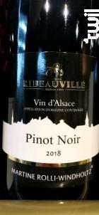 Pinot Noir - Martine Rolli-Windholtz - Cave de Ribeauvillé - 2018 - Rouge