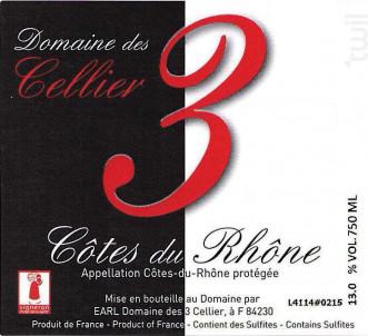 3 - Domaine des 3 Cellier - 2017 - Rouge