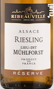 Riesling Mühlforst Réserve - Cave de Ribeauvillé - 2017 - Blanc
