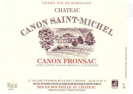 CHÂTEAU CANON SAINT MICHEL - Vignoble Millaire - 2013 - Rouge