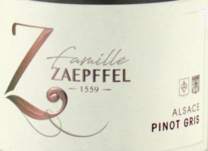 Pinot Gris Bio - Famille Zaepffel - 2018 - Blanc