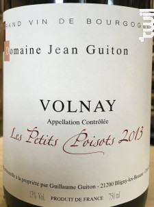 VOLNAY Les Petits Poisots - Domaine Jean Guiton - 2016 - Rouge