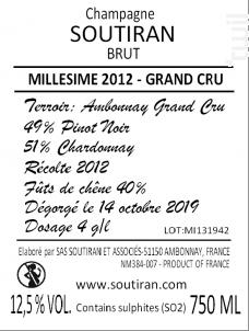 MILLESIME GRAND CRU - Champagne A. Soutiran - 2012 - Effervescent