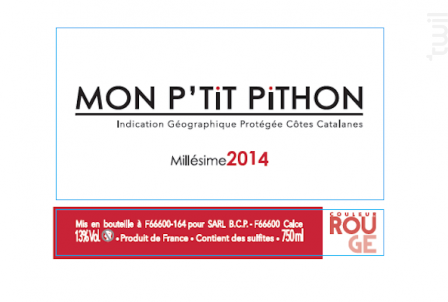 Mon P'tit Pithon - Domaine Olivier Pithon - 2018 - Rouge