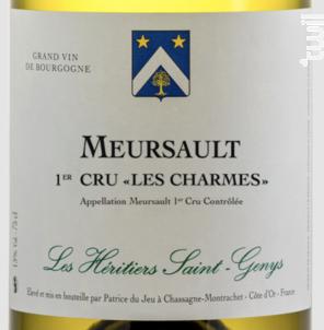 Meursault 1er cru Les Charmes - Les Héritiers Saint-Genys - 2018 - Blanc