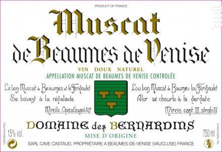 Muscat de Beaumes de Venise - Domaine Des Bernardins - 2019 - Blanc