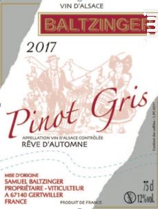 Rêve d'automne - VINS D'ALSACE SAMUEL BALTZINGER - 2017 - Blanc