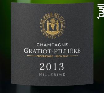 Brut Millesimé - Champagne Gratiot-Pillière - 2013 - Effervescent