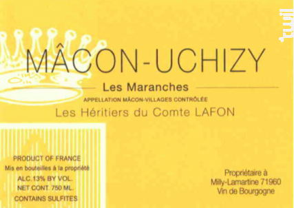 Mâcon-Uchizy Les Maranches - Domaine Les Héritiers du Comte Lafon - 2015 - Blanc