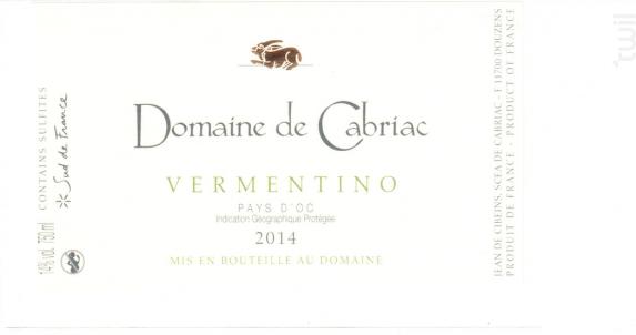 Vermentino - Château de Cabriac - 2014 - Blanc
