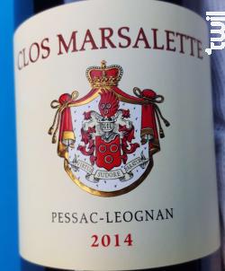 CLOS MARSALETTE - Vignobles Comtes Von Neipperg - 2014 - Rouge