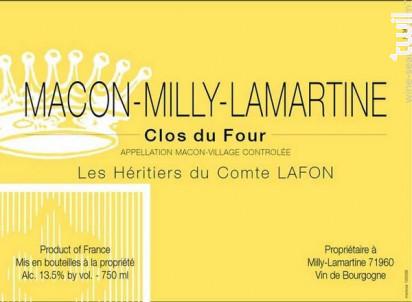 MÂCON MILLY CLOS DU FOUR - Domaine Les Héritiers du Comte Lafon - 2017 - Blanc