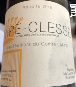 Viré-Clessé - Domaine Les Héritiers du Comte Lafon - 2016 - Blanc