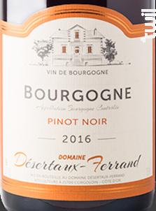 BOURGOGNE Pinot Noir - Domaine Désertaux-Ferrand - 2013 - Rouge