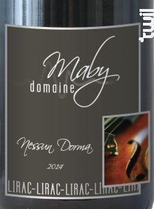 Nessun Dorma - Domaine Maby - 2014 - Rouge