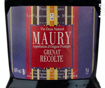 Grenat Récolte - Les Vignerons de Maury - 2018 - Rouge