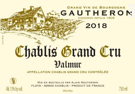 Chablis Grand Cru Valmur - Domaine Gautheron Alain et Cyril - 2018 - Blanc