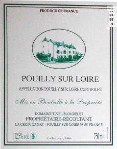 Pouilly sur Loire - DOMAINE TINEL BLONDELET - 2017 - Blanc