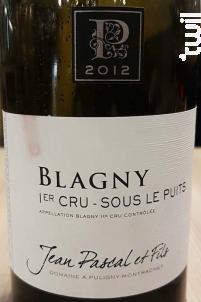 Blagny 1er Cru - Sous le Puits - Domaine Jean Pascal et Fils - 2015 - Rouge