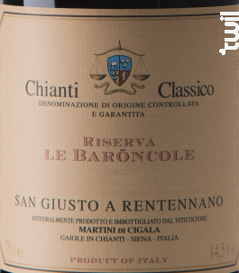 Chianti classico Riserva Baroncole - San Giusto a Rentennano - 2015 - Rouge