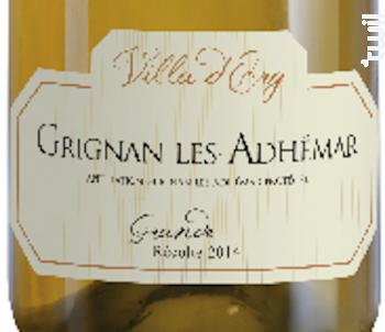 GRIGNAN LES ADHEMAR - Grande Récolte - Villa d'Erg - 2014 - Blanc