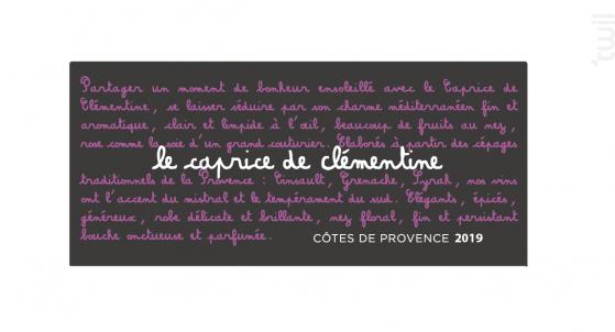 Le Caprice de Clémentine - Château les Valentines - 2019 - Rosé