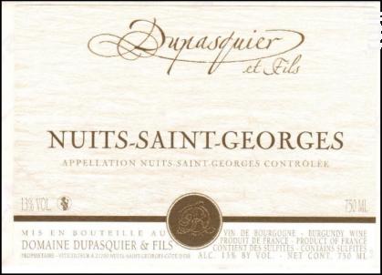 Nuits-Saint-Georges - Domaine Dupasquier et Fils - 2017 - Rouge