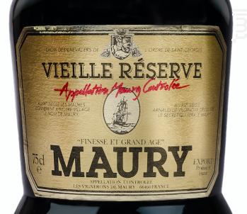 Vieille Réserve Vieux Millésime 18 ANS - Les Vignerons de Maury - 2001 - Rouge
