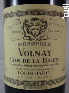 Volnay Premier Cru Clos de la Barre - Maison Louis Jadot - 2012 - Rouge