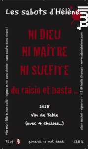 Ni Dieu Ni Maître Ni Sulfite - Les Sabots d'Hélène - 2018 - Rouge