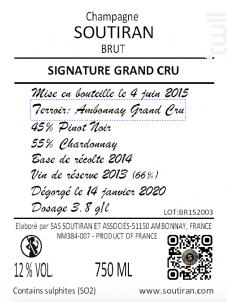 Cuvée Signature Grand Cru - Champagne A. Soutiran - Non millésimé - Effervescent