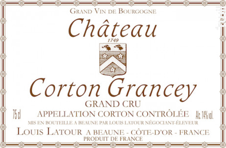 Château Corton Grancey Grand Cru - Maison Louis Latour - 2015 - Rouge