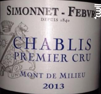 Chablis 1er cru Mont de Milieu - Simonnet Febvre - 2010 - Blanc