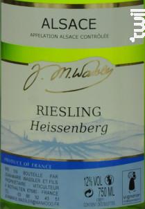 Riesling Heissenberg - Domaine Jean-Marie et Fabrice Wassler - 2014 - Blanc