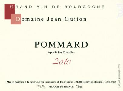 POMMARD - Domaine Jean Guiton - 2016 - Rouge