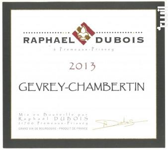 Gevrey-Chambertin - Raphaël Dubois - Domaine R. Dubois et Fils - 2013 - Rouge