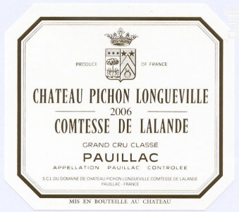 Château Pichon Longueville Comtesse de Lalande - Château Pichon Longueville Comtesse de Lalande - 2006 - Rouge