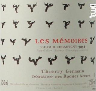 Mémoires - Thierry Germain - Domaine des Roches Neuves - 2016 - Rouge